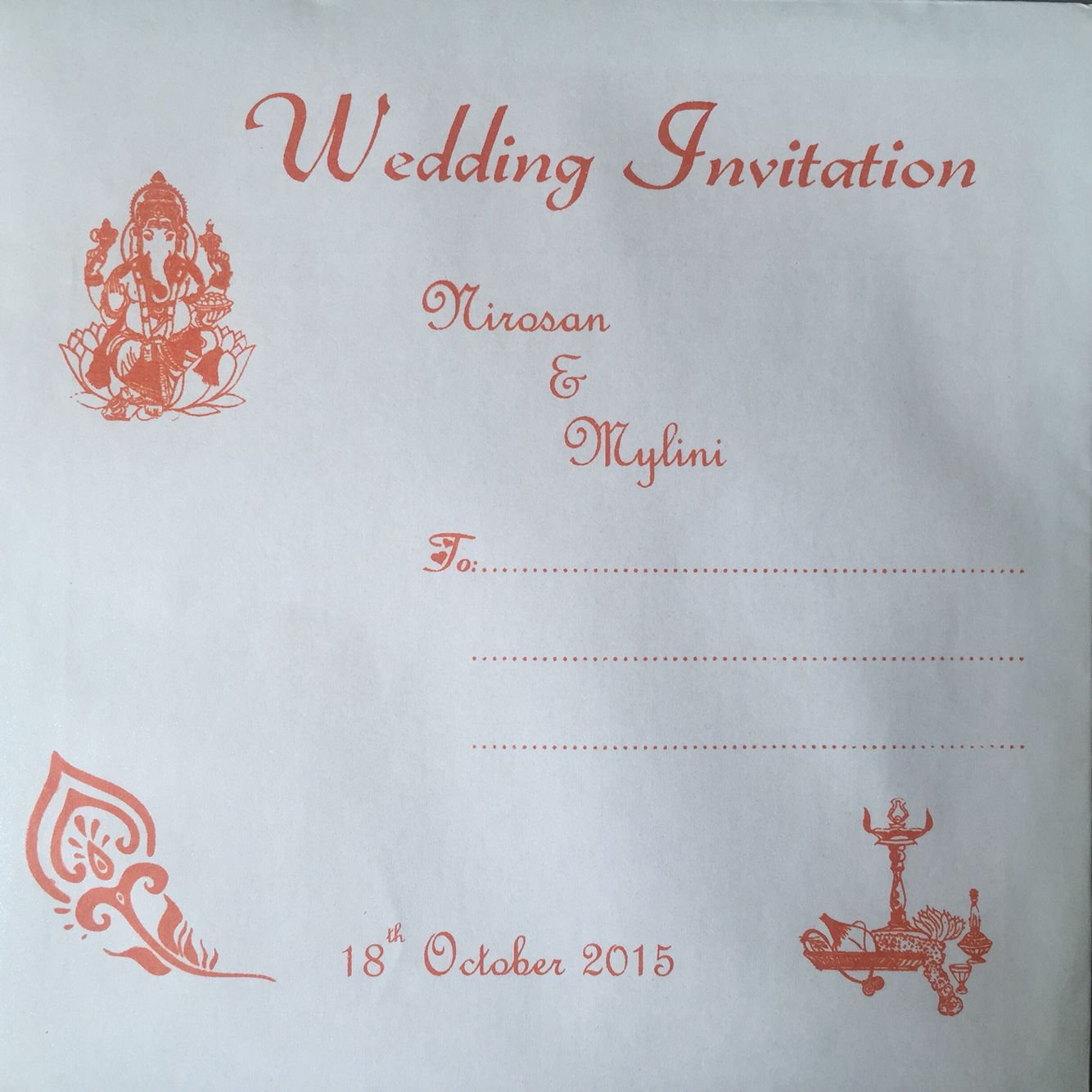 Indian wedding invitation card envelope orange | My Tamil hindou ...