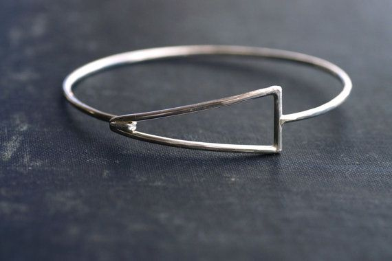 Geometric Sterling Silver Hook Bangle by SDMarieJewelry on Etsy, $98.00
