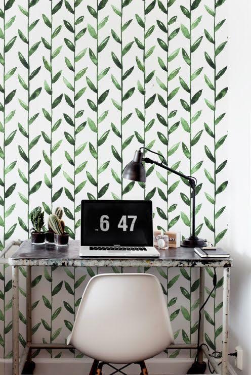 Green Leaf Verwijderbaar Behang Bladeren Zelfklevende Behang Etsy Green Leaf Wallpaper Wall Painting Decor Removable Wallpaper