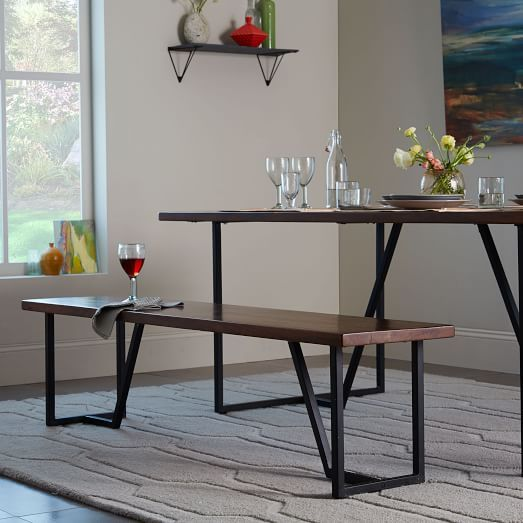 Geometric Base Dining Bench