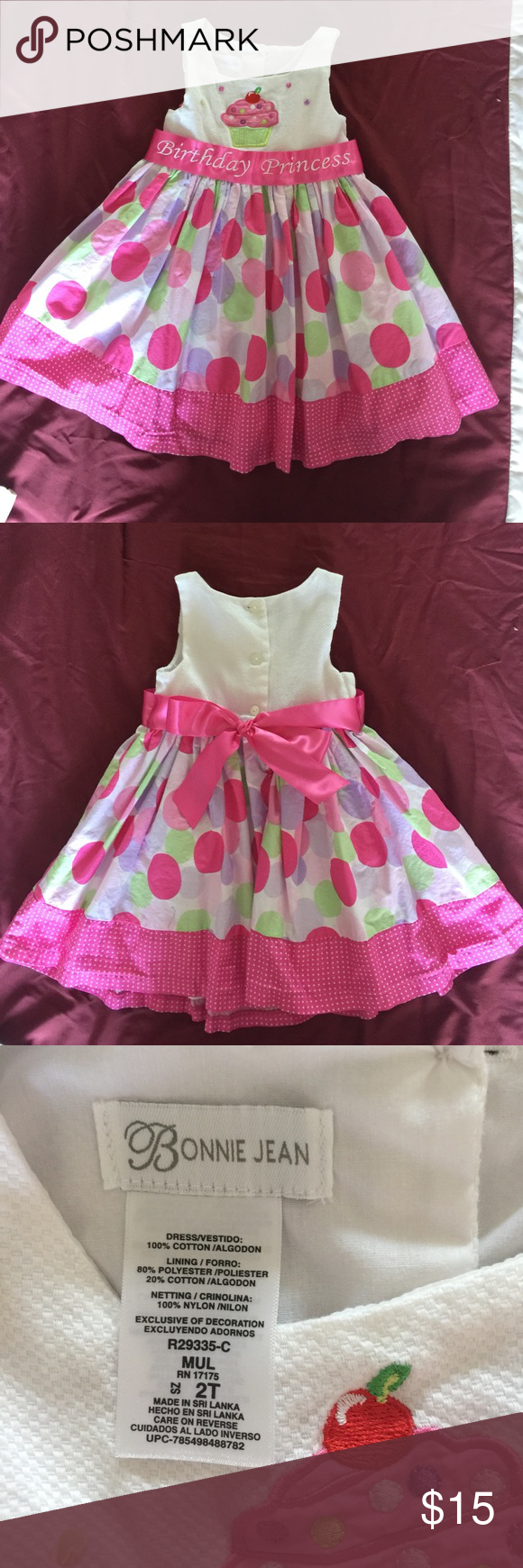 "Bonnie Jean Birthday Princess Dress Toddler Girl Pretty pink white polka dots party dress with cute cupcake design at the front bodice. ""Birthday Princess"" pink ribbon around the waist that ties into a pretty bow at the back.  Perfect birthday dress for your 2 year old! Bonnie Jean Dresses Formal"