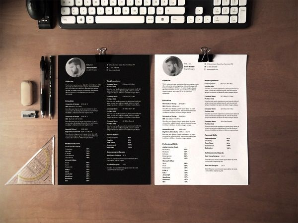 Free Ultra Minimal, One-Page Résumé Template Presents Information - resume portfolio
