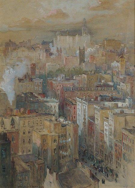 View of New York City. Colin Campbell Cooper (American, Philadelphia, Pennsylvania 1856-1937 Santa Barbara, California). Watercolour, gouache on paper.