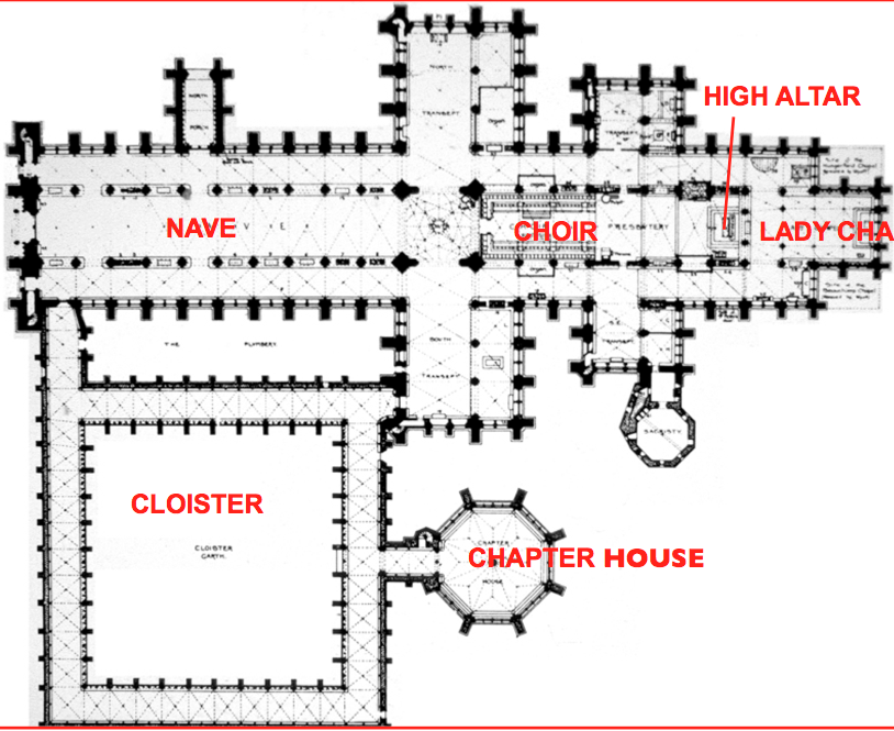 The basic floor plan of the Salisbury Cathedral. I chose