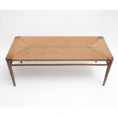 RLB44 U2013 Hand Woven Rush And Walnut Bench By Smilow Furniture | ReGeneration
