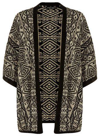 Black/stone waterfall cardigan - Knitwear  - Clothing
