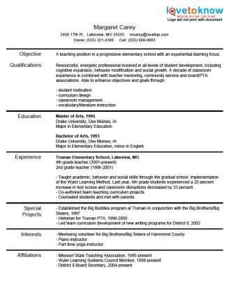 Etonnant Experienced Teacher Resume