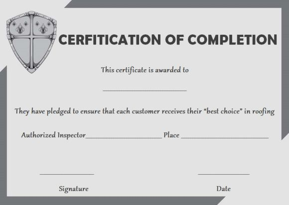 Get Our Free Roofing Certificate Of Completion 6