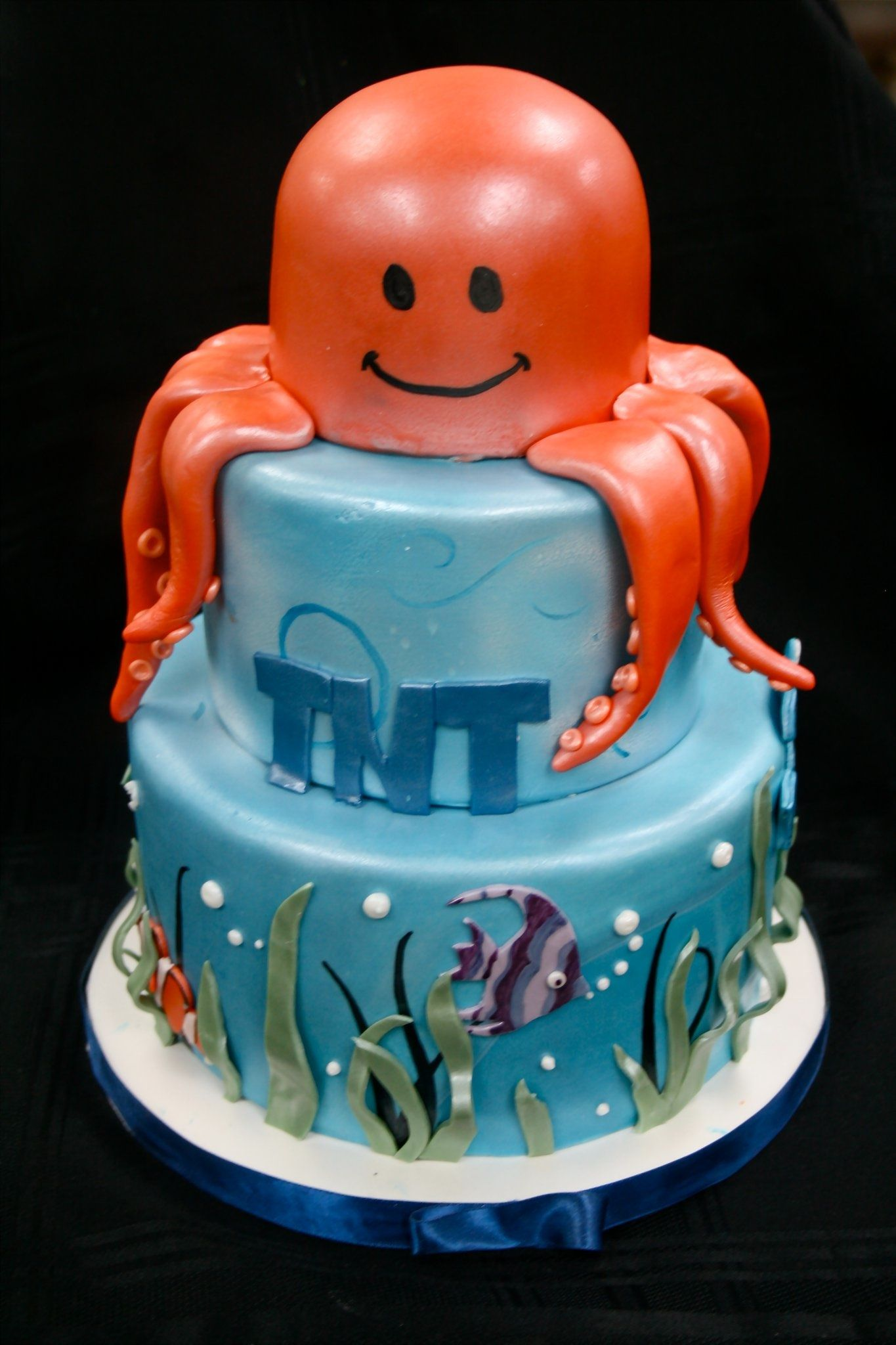 Under The Sea Themed Childrens Birthday Cake With Octopus Topper By Gimme Some Sugar Las Vegas