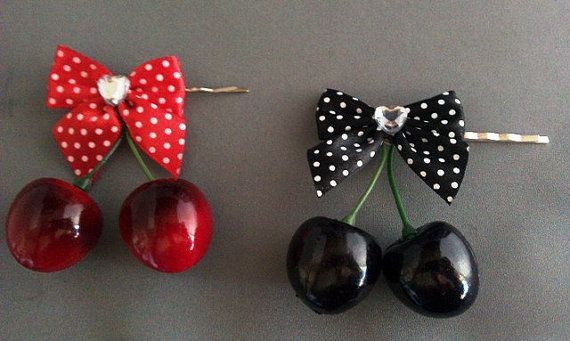 Cherry Rockabilly Polka Dot Bow Cherries Iron On Embroidered Badge Patch