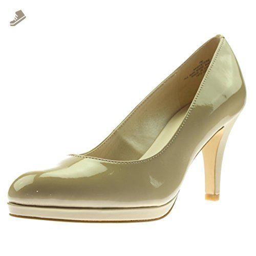 523df033bce Anne Klein Womens Wystere Patent Solid Platform Heels Beige 9 Medium ...