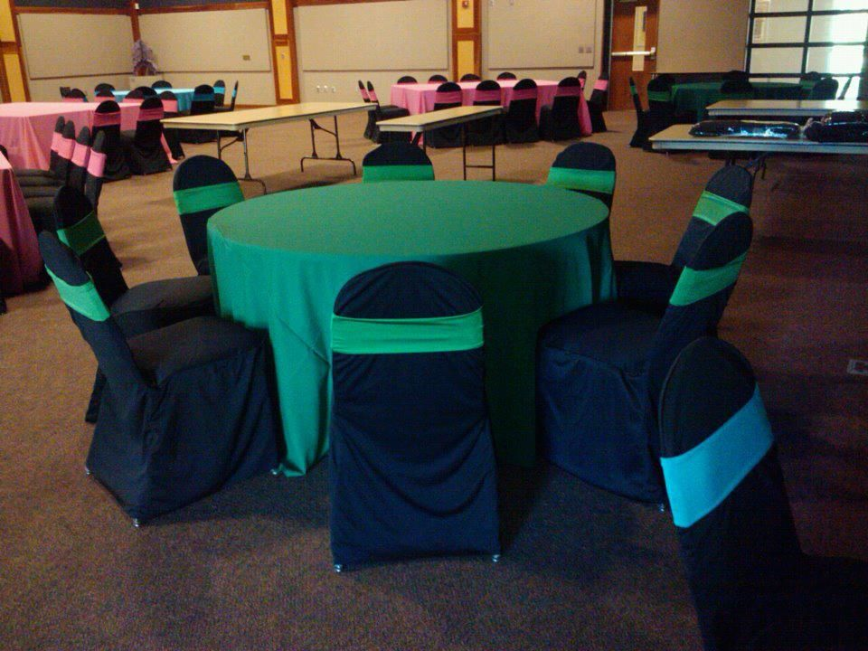 Emerald Green Polyester Linens Black Polyester Chair Covers