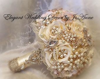 Gold And Pink Brooch Bouquet Ivory Bridal Broach Wedding Deposit
