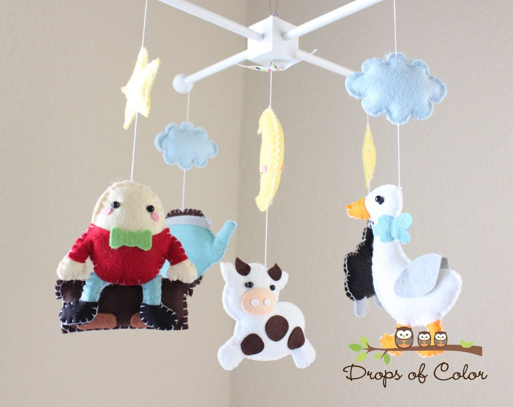 Baby Crib Mobile Mother Goose Nursery Rhymes Humpty Dumpty Black Sheep You Can Pick Your Colors