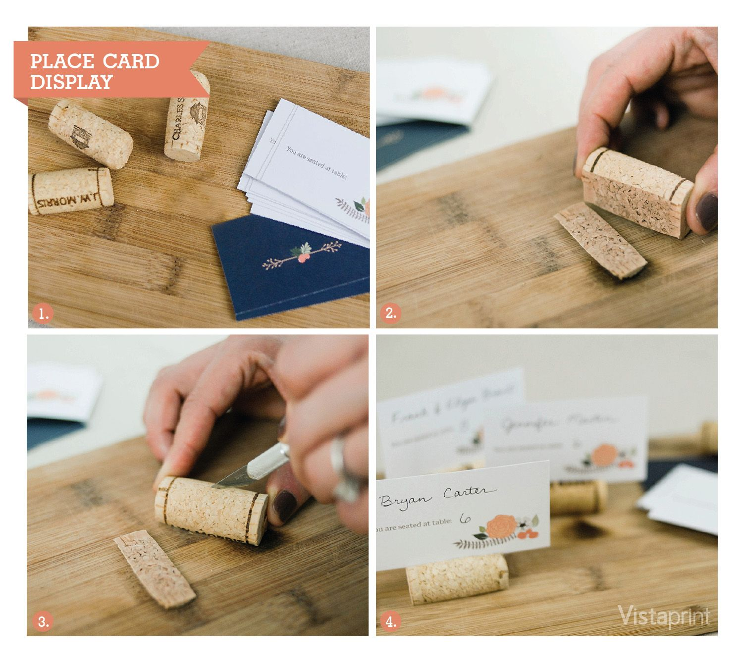 Diy Place Cards Display Vistaprint Cork Wine Wedding Ideas