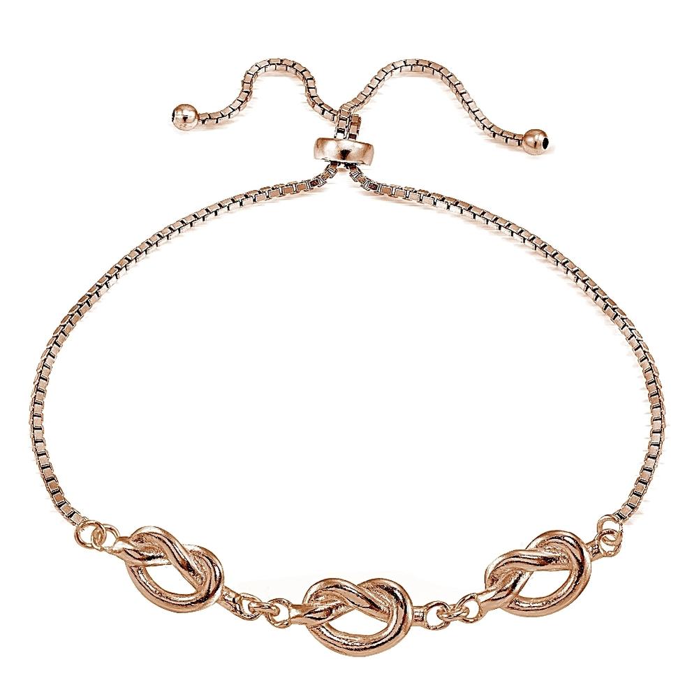Rose gold tone over sterling silver polished pretzel love knot