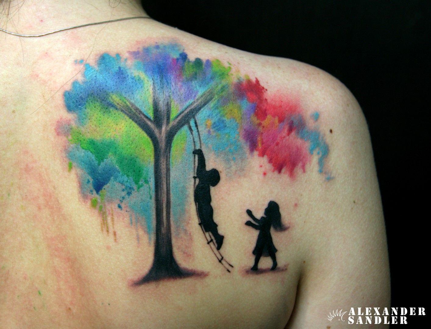Tree watercolor color pinterest for Significado de un arbol sin hojas