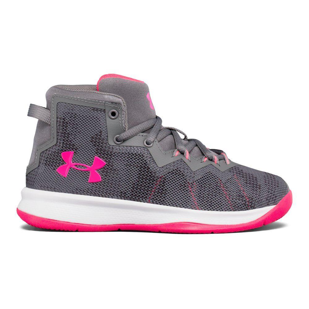100 Pitch Gray Under Armour Kids Pre School Lockdown 4 Basketball Shoe //Black 7