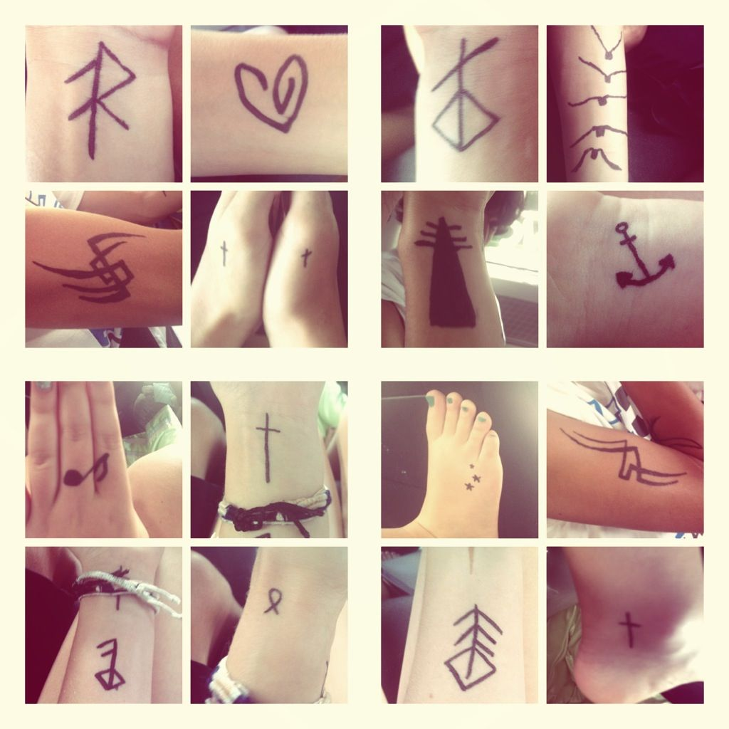 small tattoos. love the runic ones.