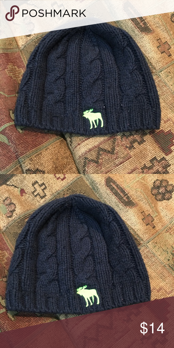 4bcb22c50a7 ... beanie navy blue cable knit Navy blue cable knit beanie with lime  embroidered green logo One size Good used condition abercrombie kids  Accessories Hats