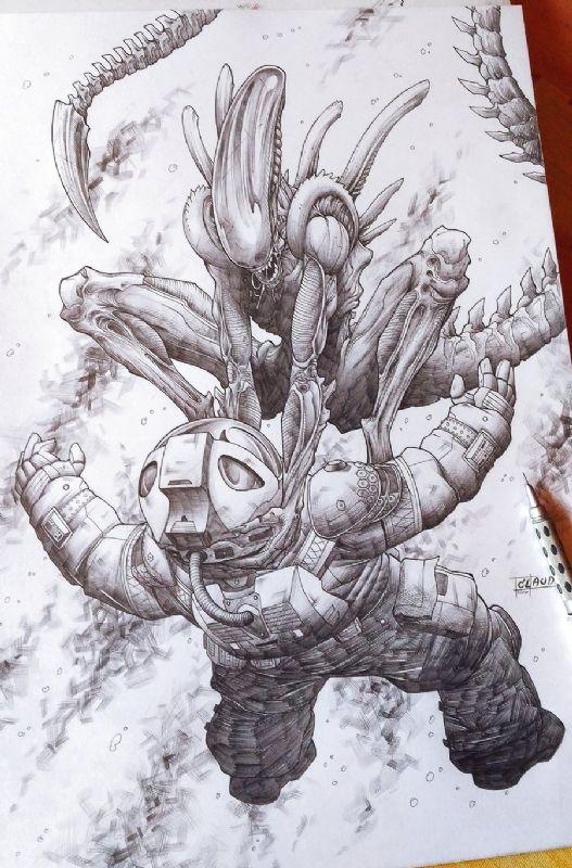 Alien Xenomorph Comic Art | Aliens&Predator | Pinterest | Alien vs ...
