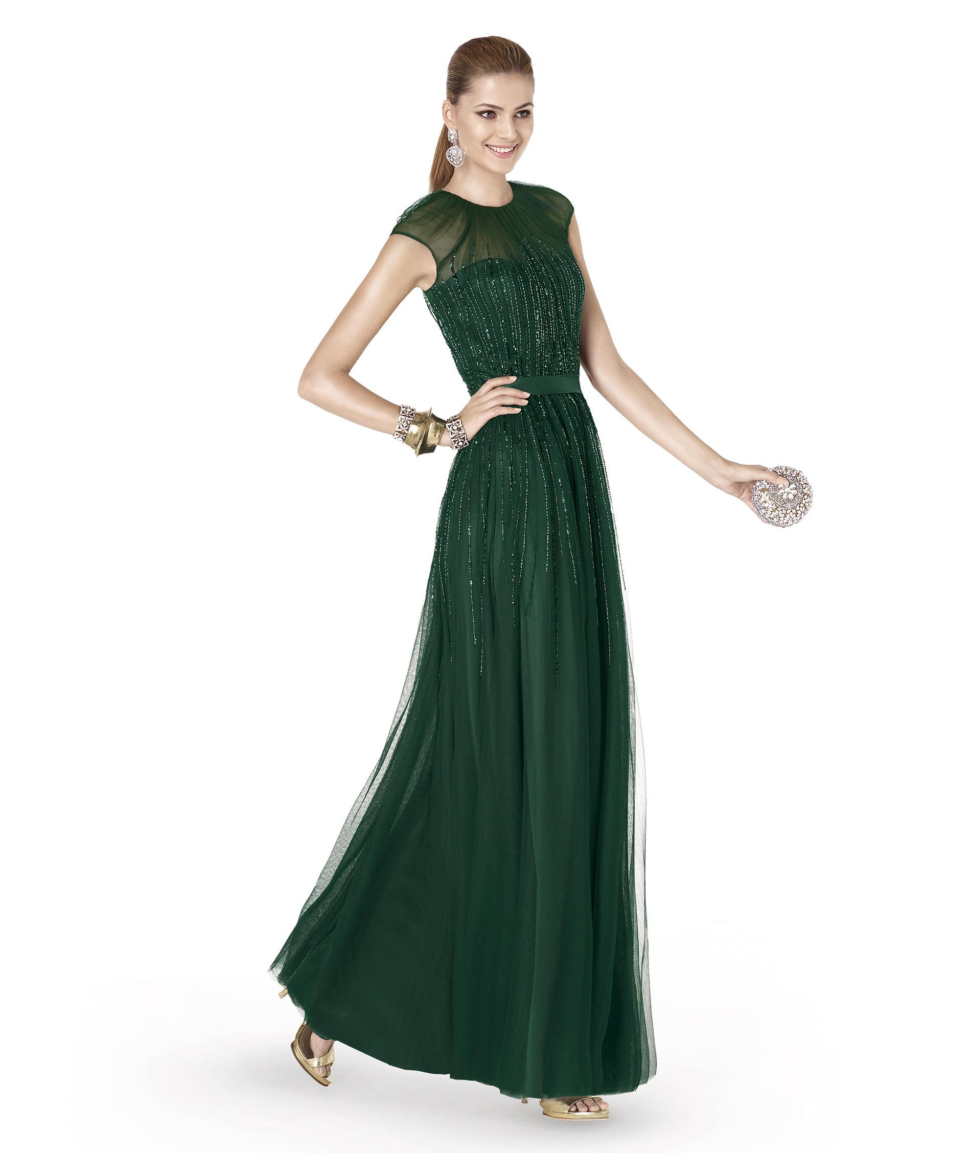 Vestidos fiesta pronovias verde