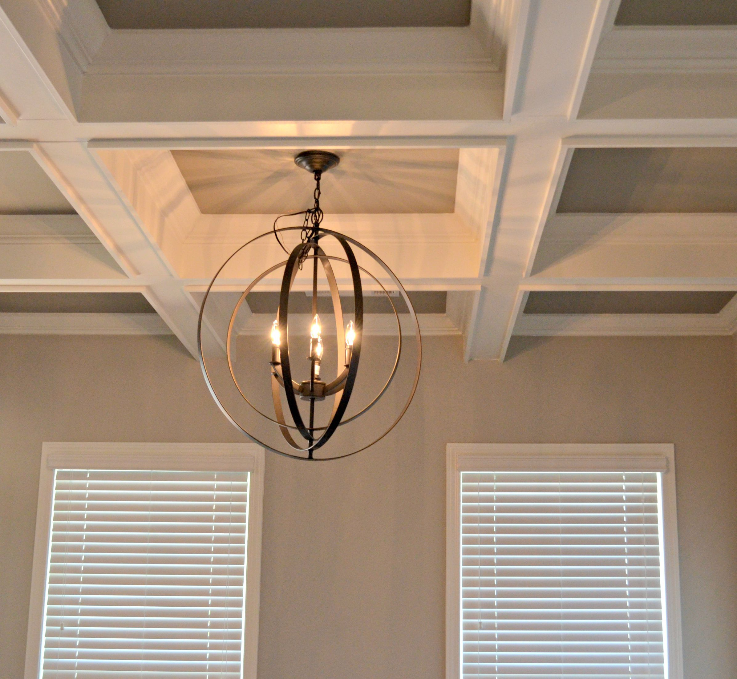 Beautiful Coffered Ceiling Detail And Modern Light Fixture In This