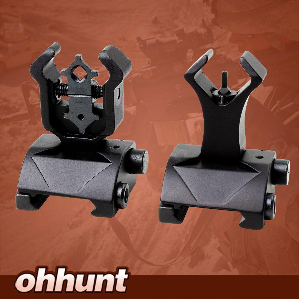 Ohhunt Model 4 AR 15 Tactical Flip up Front Rear Sight Sights Set Iron Diamond Apertures Dual Windage Adjustment