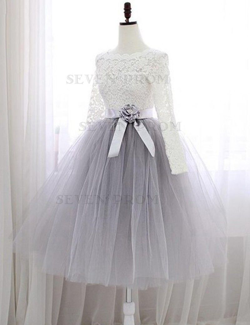 Aline bateau long sleeves light gray tulle prom dress with flower