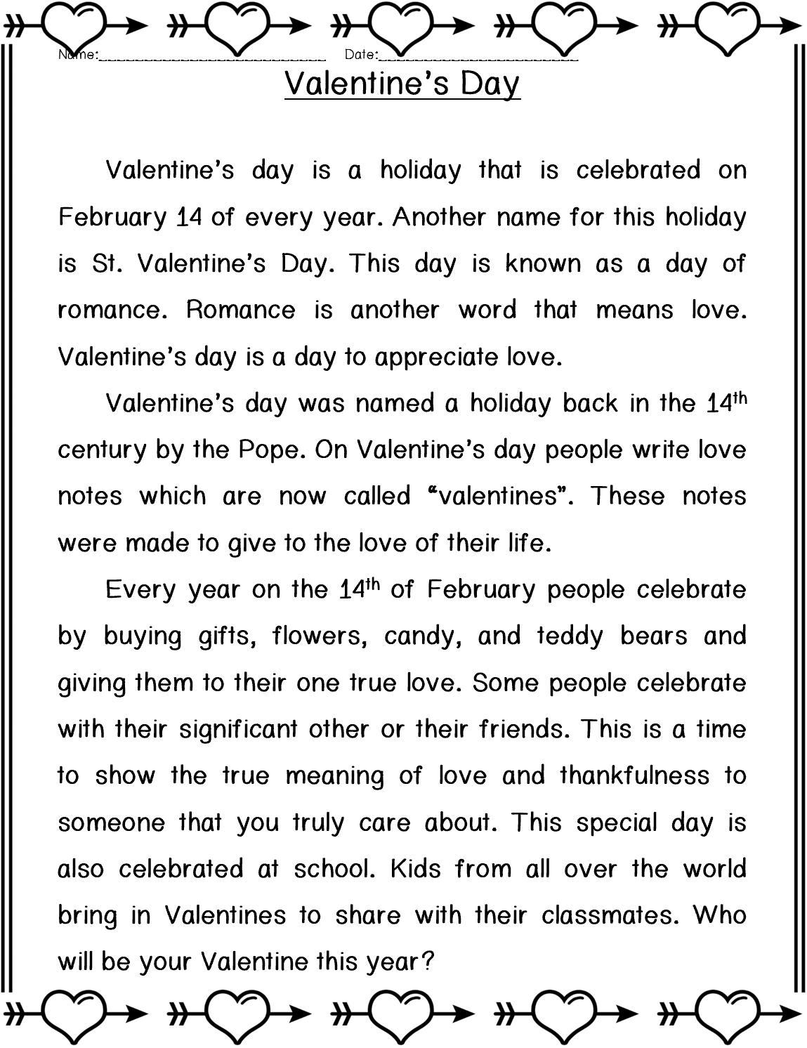 Valentine S Day Reading Fluency Passages Reading Comprehension Kindergarten Essay Writing Skills [ 1492 x 1149 Pixel ]