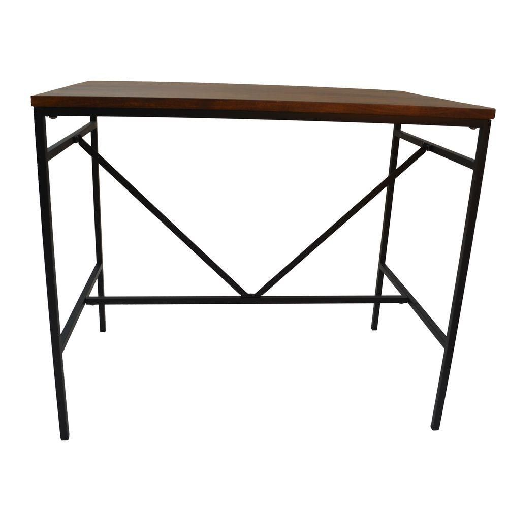 Aileen 2.2 ft. L Bar Table in Chestnut/Black, Rich Chestnut Finished Table Top  Powder Coated Textured Black Metal Frame