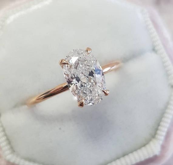 Oval Diamond Engagement Ring, 1 Carat Oval Shape, 18k Rose Gold Diamond Ring, Oval Diamond Ring ,Solitaire Diamond Ring, Engagement Ring