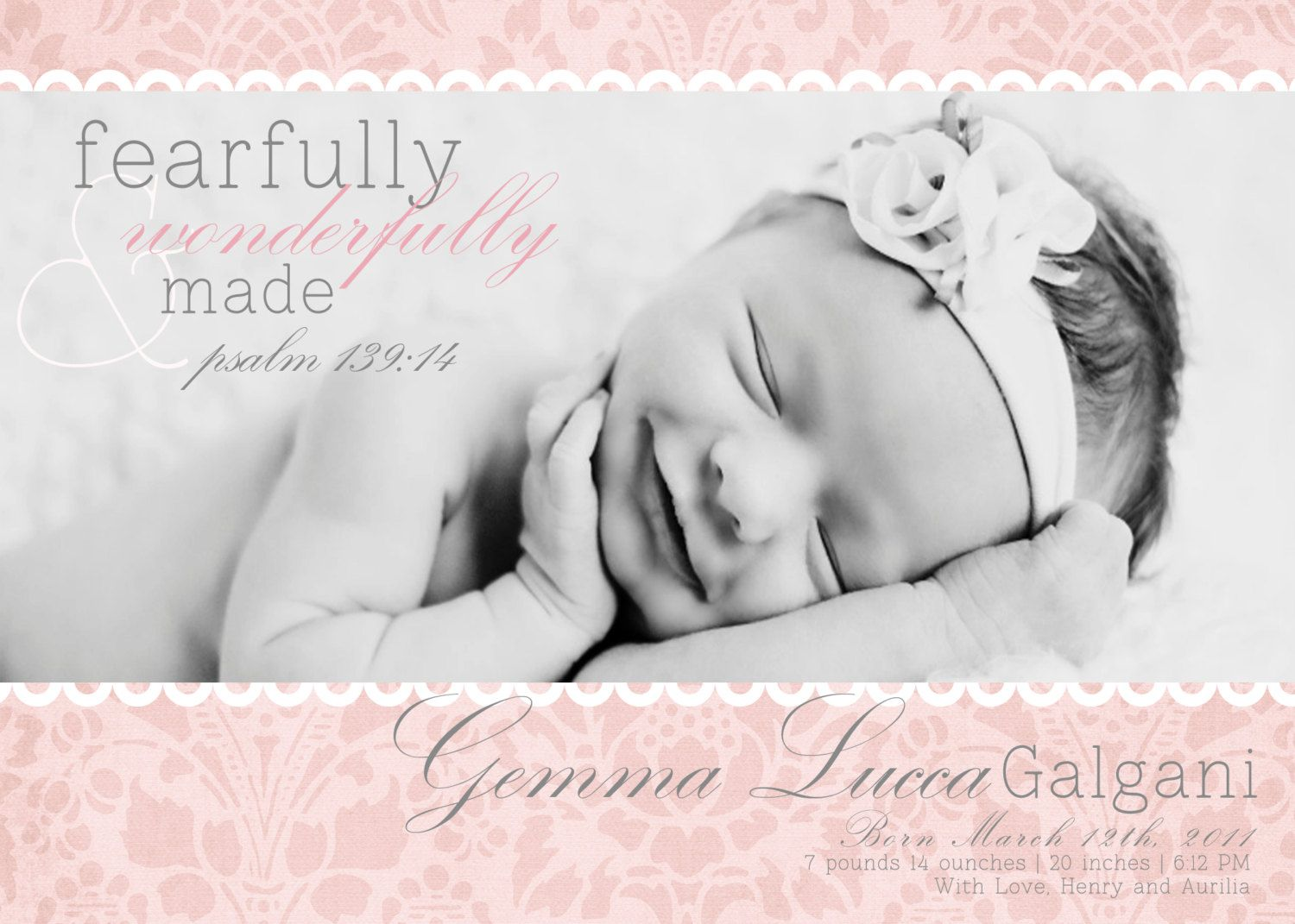Christian Birth Announcement With Verse Fearfully And