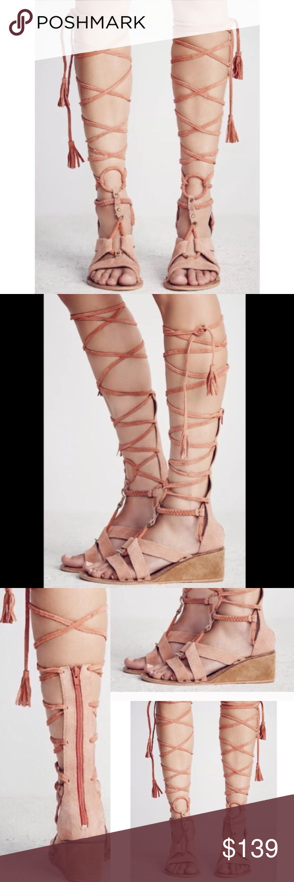 BRAND NEW! 🌟 FREE PEOPLE LACE GLADIATOR TASSEL FREE PEOPLE DOES IT AGAIN!  🎀 Brand new without tags! 🎀 Distressed look to them-true to Free People designing!  ABSOLUTELY GORGEOUS detailing!  💗💗💗 These sandals feature a small wedge, leather, suede material, and a gladiator lace-up aesthetic with tassels!  SO EDGY & CHIC!  Great 🎁 idea as well!  Get yours while they last!  I have limited quantities.  ONLY: 2 pairs of size 38 and 1 pair in a size 39.  Please ensure your sizing in this…