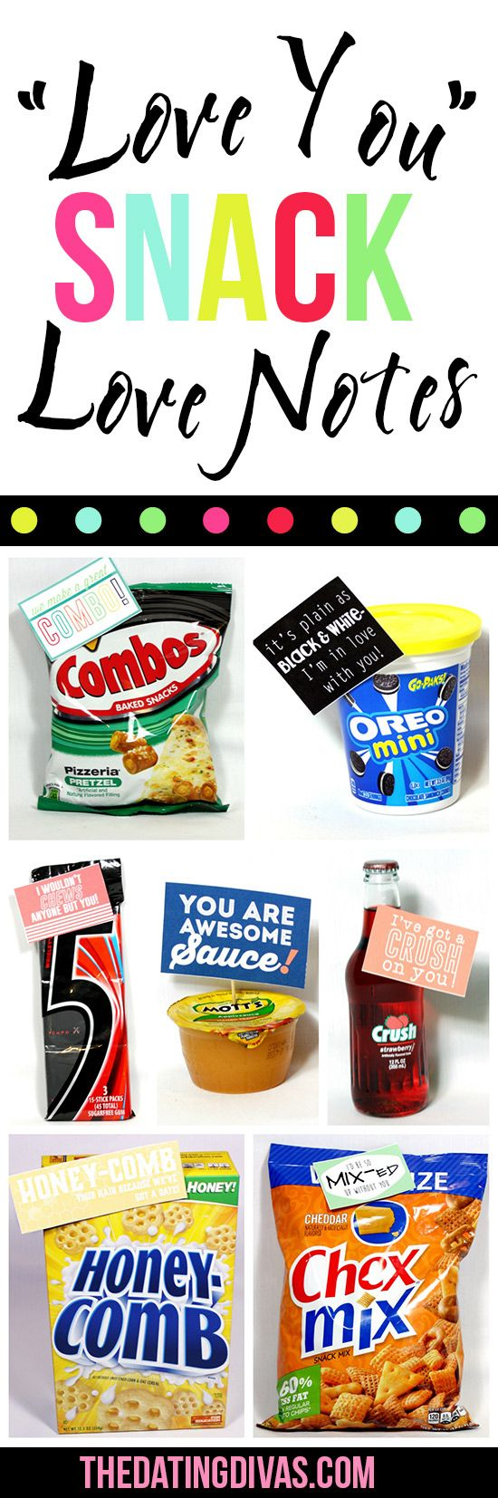 Printable Snack Love Notes Birthday gift for him