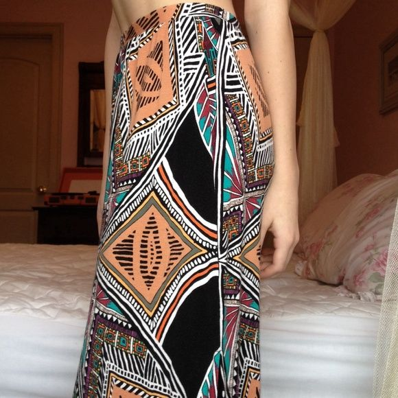 Anthro Maxi Skirt Never worn, vibrant, comfy, & a little sassy. Anthropologie Skirts Maxi