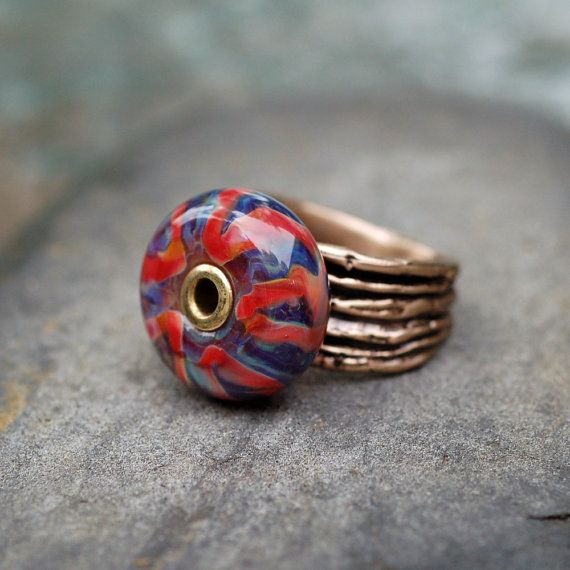 Ring Handmade Lampwork Glass Beaded Jewelry Bronze Band by Venbead