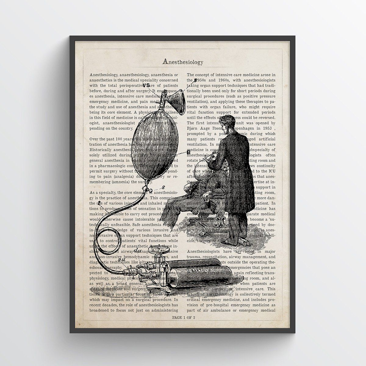 Anesthesiology Print Anesthesiologist Gift Idea Doctors Office