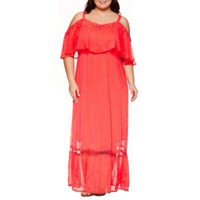 Boutique + Short Sleeve Maxi Dress-Plus - JCPenney ...