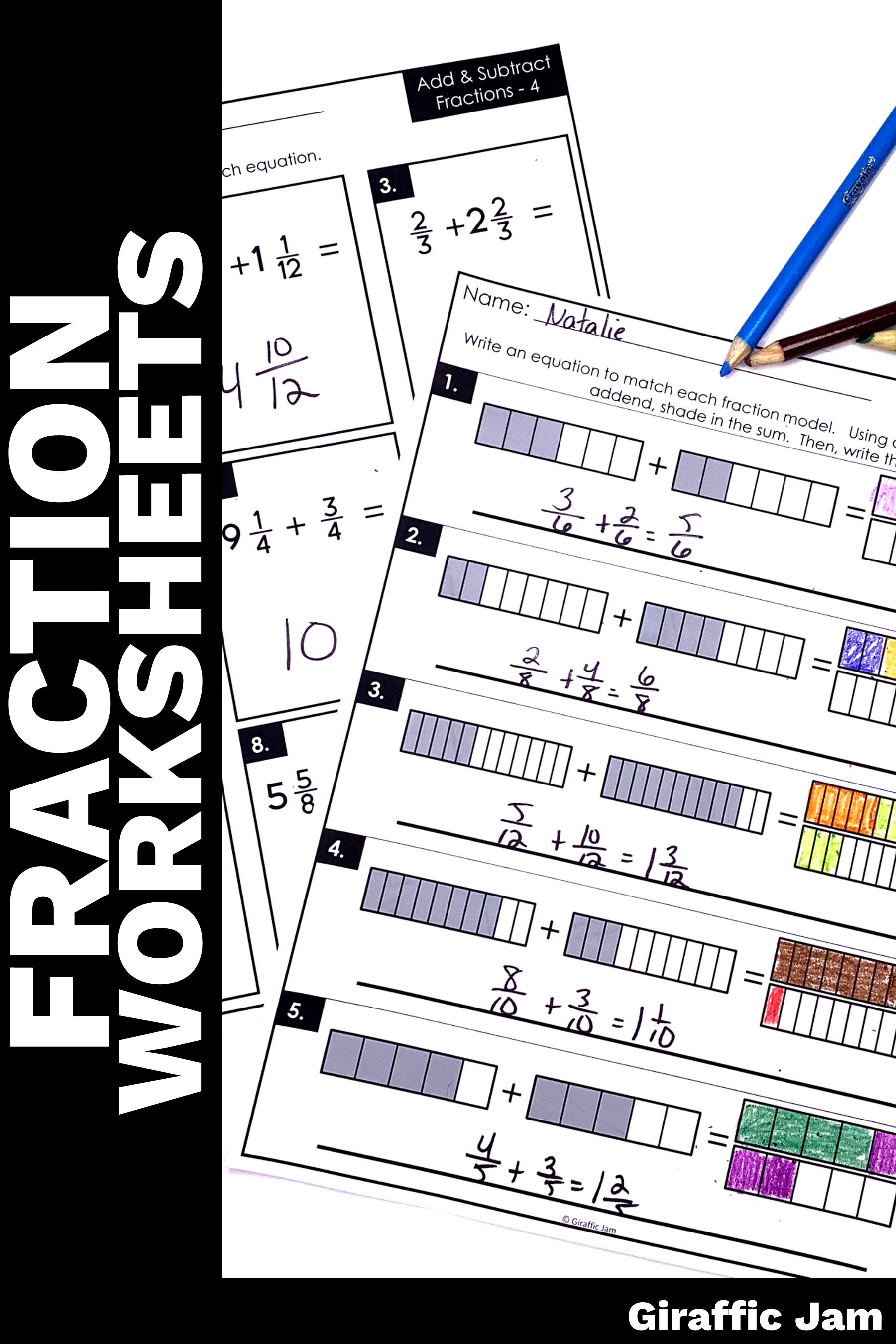 medium resolution of Adding and Subtracting Fractions Worksheets   Fraction Homework   Fractions  worksheets