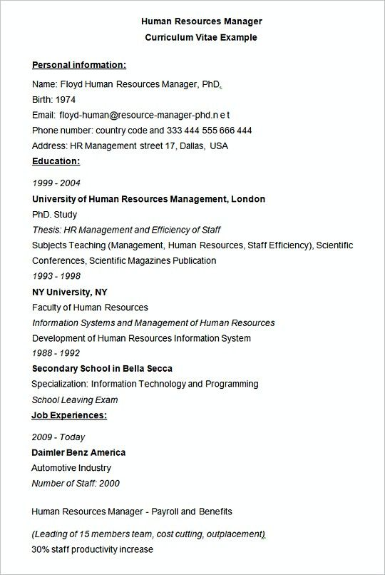 Human Resources Manager CV Example , Hiring Manager Resume , The - human resources resumes