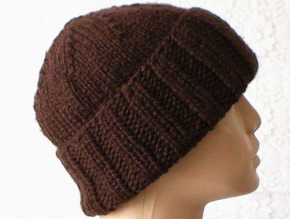 c8332db37 Dark brown slouchy hat, watch cap, brimmed beanie, men's hat ...