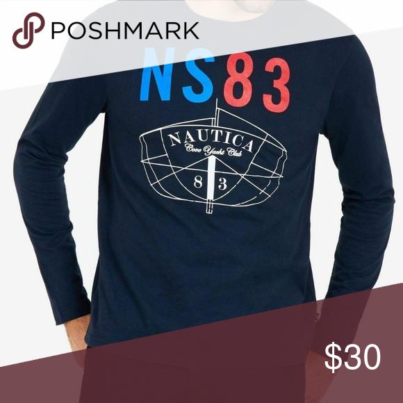 NAUTICA Men/'s Ns 83 Long-sleeve Cotton Graphic Tee T-Shirt