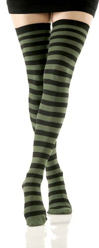6807d6e61 Black   Olive Striped Opaque Thigh High Stockings (Women s)