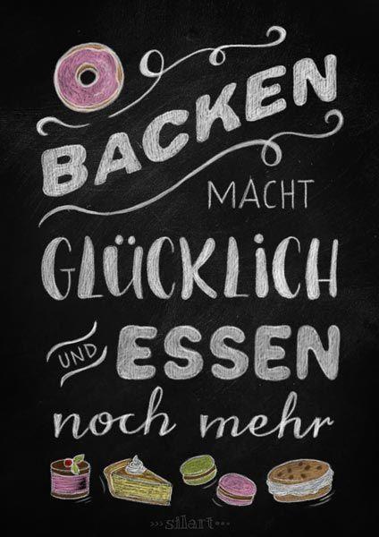 Backen macht glücklich, Kitchen Chalkboard, Lettering, Quote Art, Word Art, Statements, Zitate, Sprüche