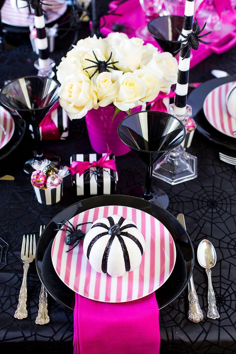 pink-o-ween dinner party tablescape | halloween parties, halloween