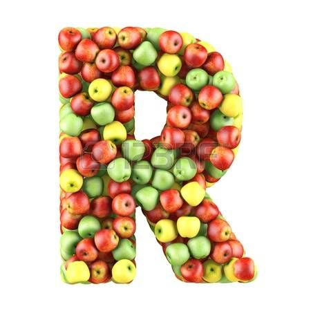 letter r made of apples isolated on a white photo alfabeto