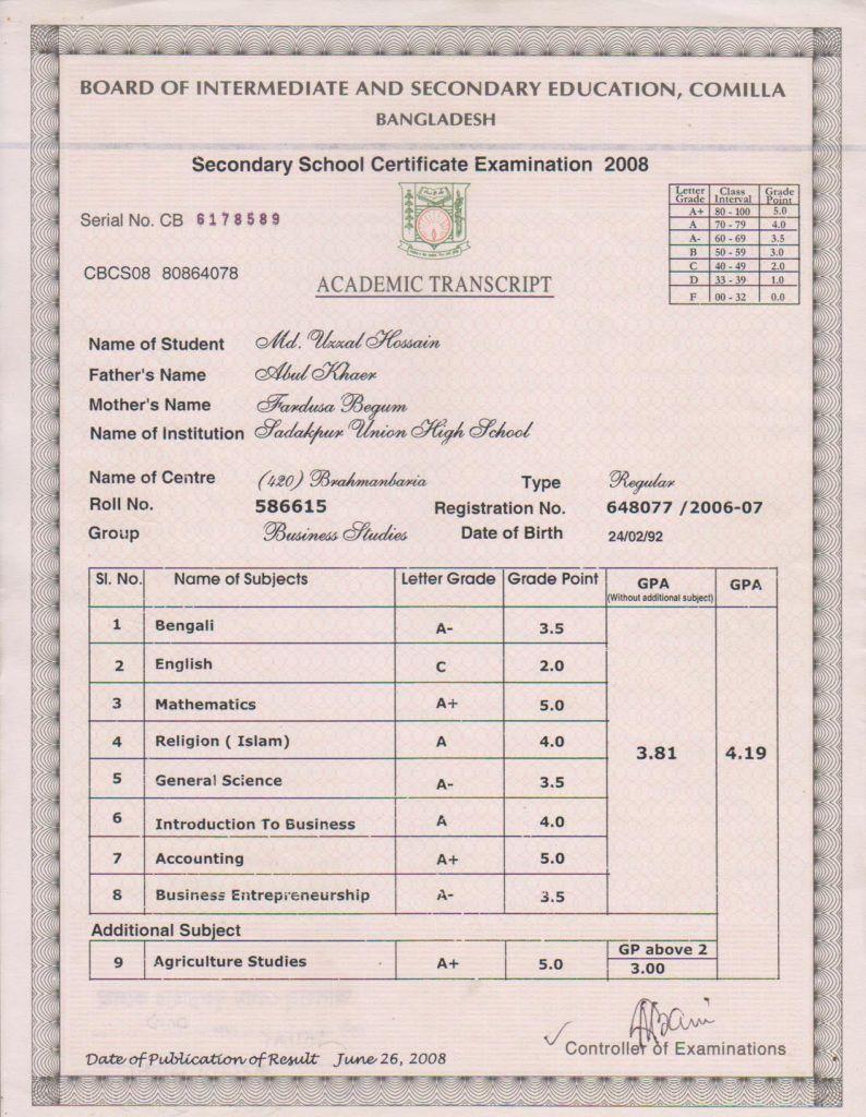 Ssc Result 2020 Mark Sheet Download Education Board Bangladesh