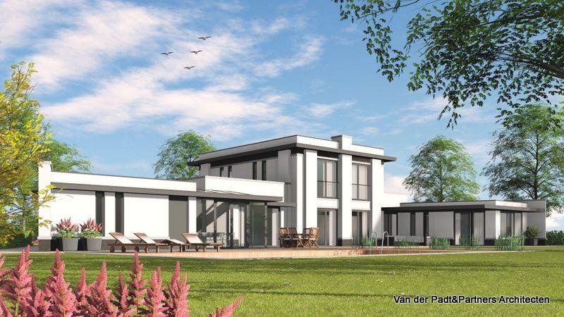 Ruimte villa in frank lloyd wright style met een moderne touche