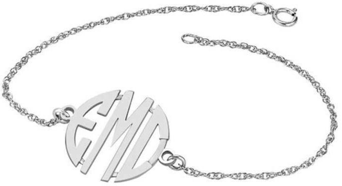 Zales 20mm Round Block Monogram Bracelet in Sterling Silver (3 Initials) - 7.25 v8BNJ6lm